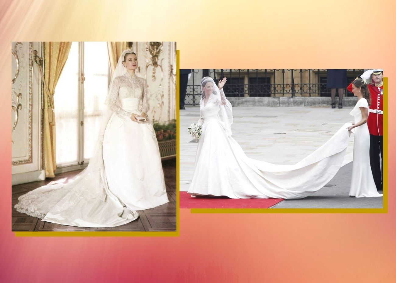 Grace Kelly y Kate Middleton optaron por materiales y aderezos nobles como su rango.